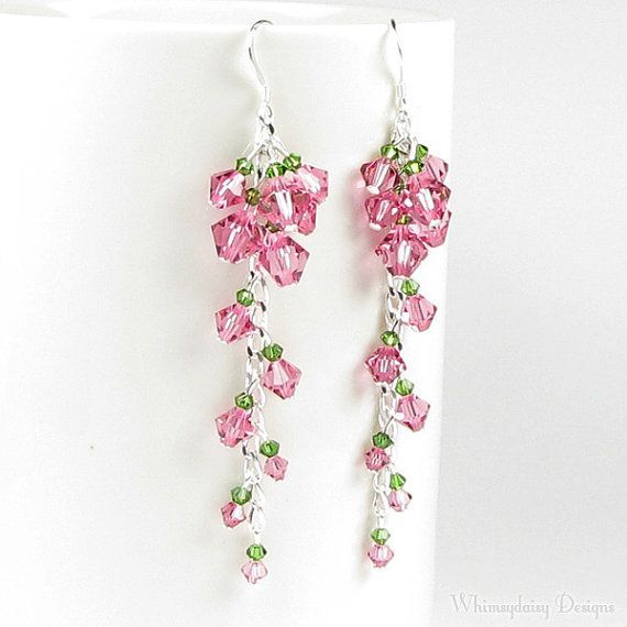 Cascading Tea Rose Swarovski Crystal Pink Sterling Silver Earrings ... dcc644305ac