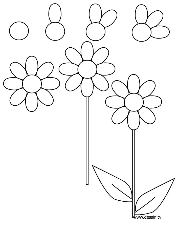 Drawing flower learn how to draw a flower with simple step by step instructions the drawbot also has plenty of drawing and coloring pages