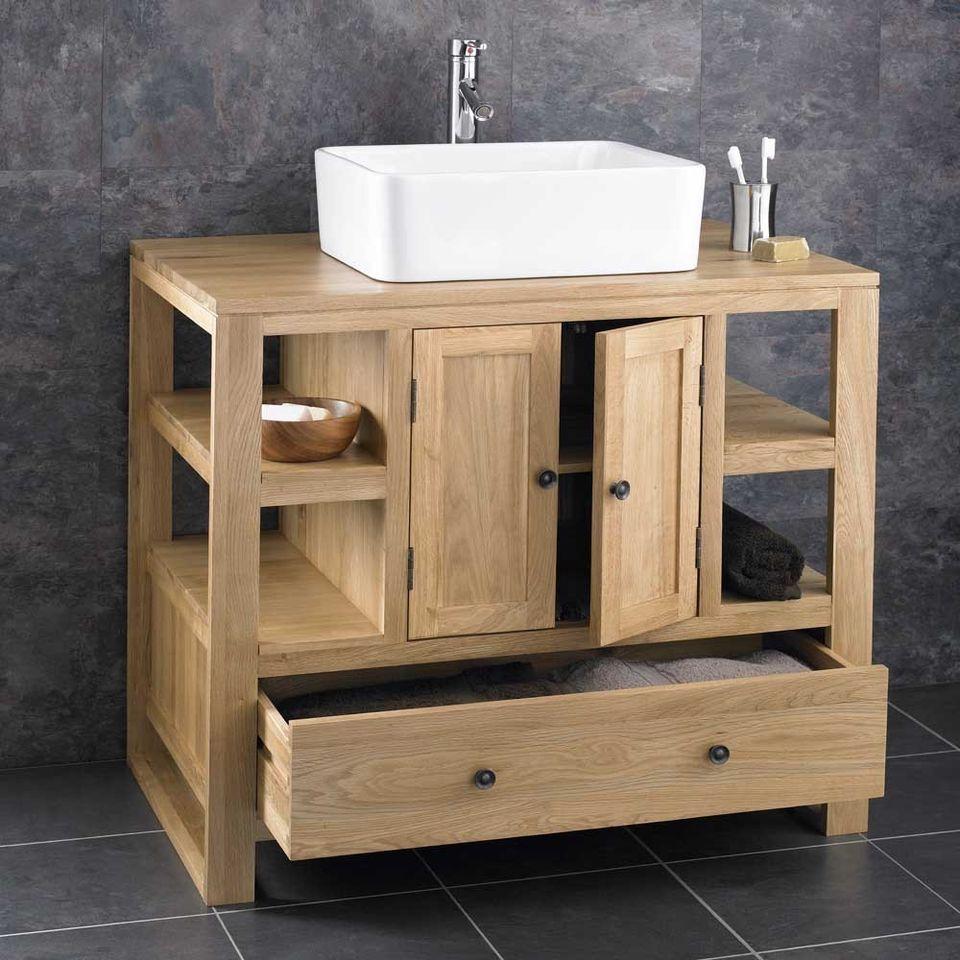 90cm x 55cm Solid Oak Two Door Bathroom Basin Cabinet Vanity Sink ...