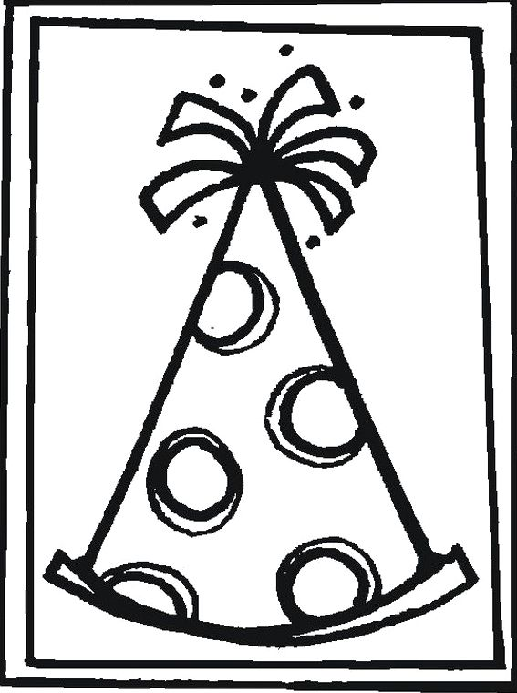Birthday Card With Pictures Cone Hats Coloring Pages