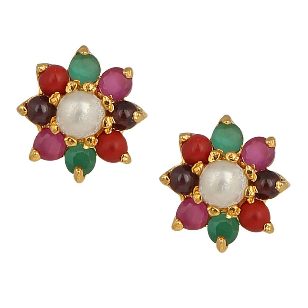 Efulgenz Indian Bollywood Designer 18 k Gold Plated Traditional CZ Stud Earrings Jewelry for Women and Girls Gift for Her