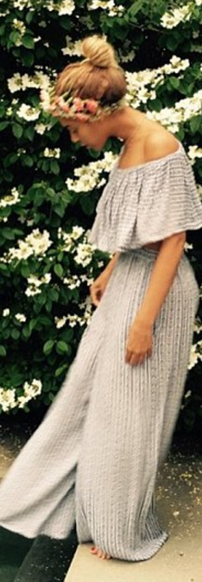 Who Made Beyonce Knowles Blue Stripe Pants And Off The Shoulder Top