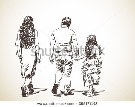 Sketch Of Walking Indian Family Hand Drawn Illustration From Back Human Figure Sketches How To Draw Hands Family Sketch
