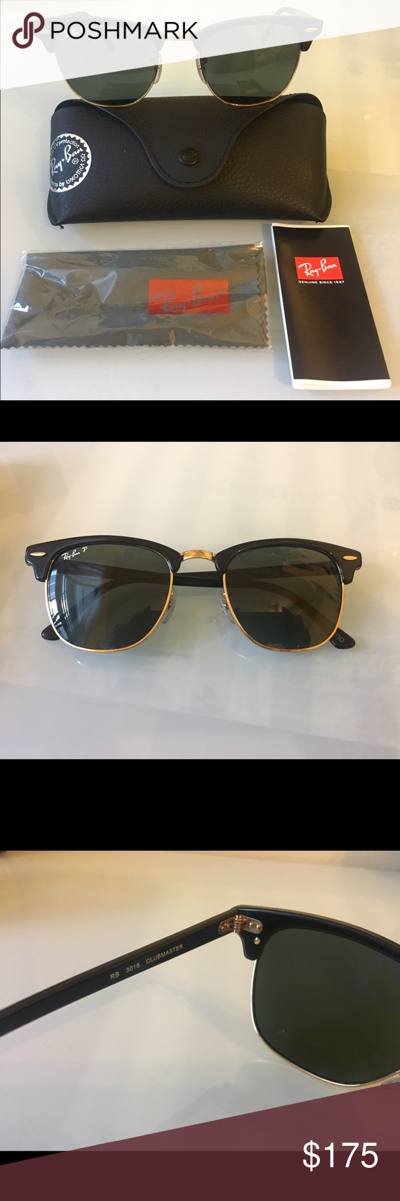 ray ban clubmaster small size  Original Ray Ban Polarized Clubmaster Sunglasses NWT