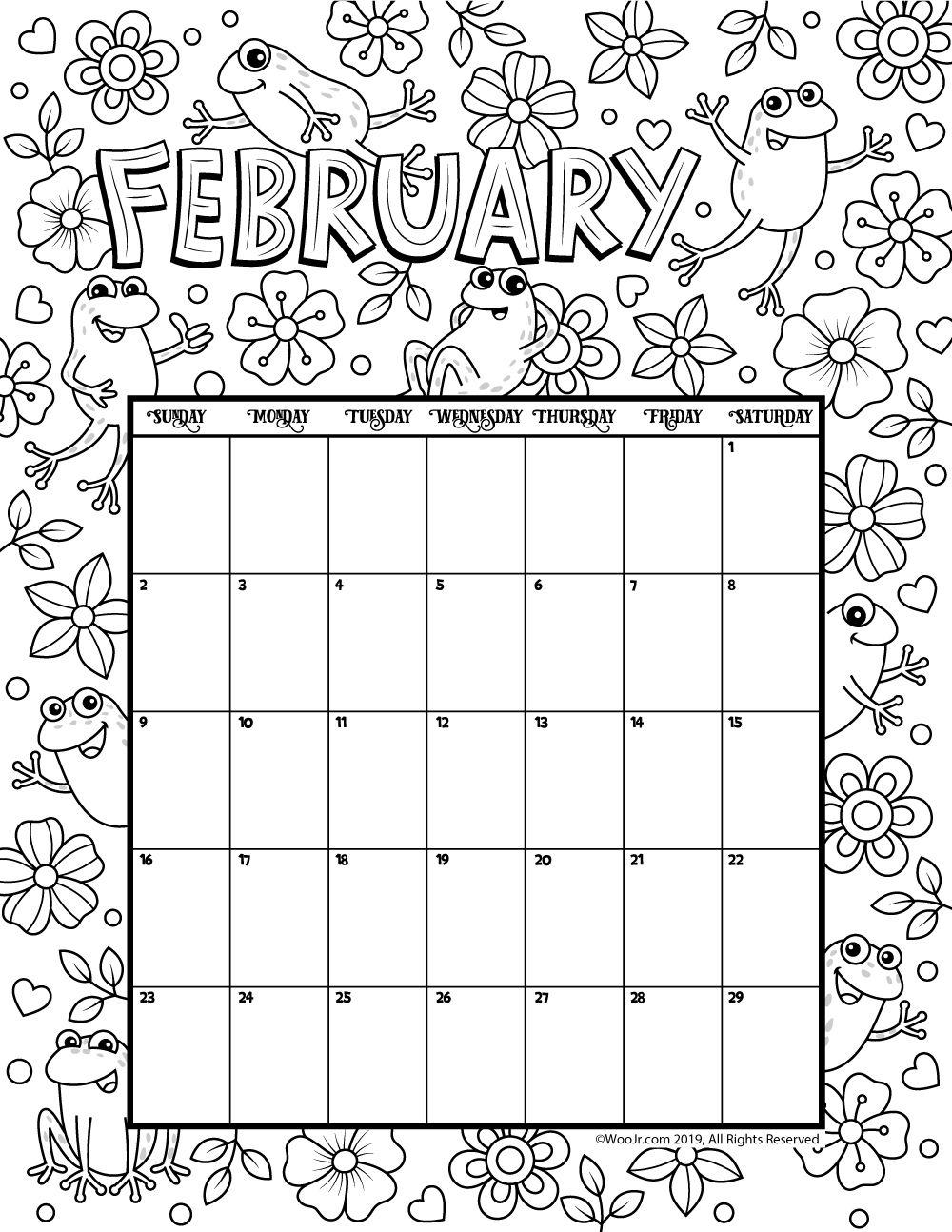 February 2020 Coloring Calendar Kids calendar, Coloring