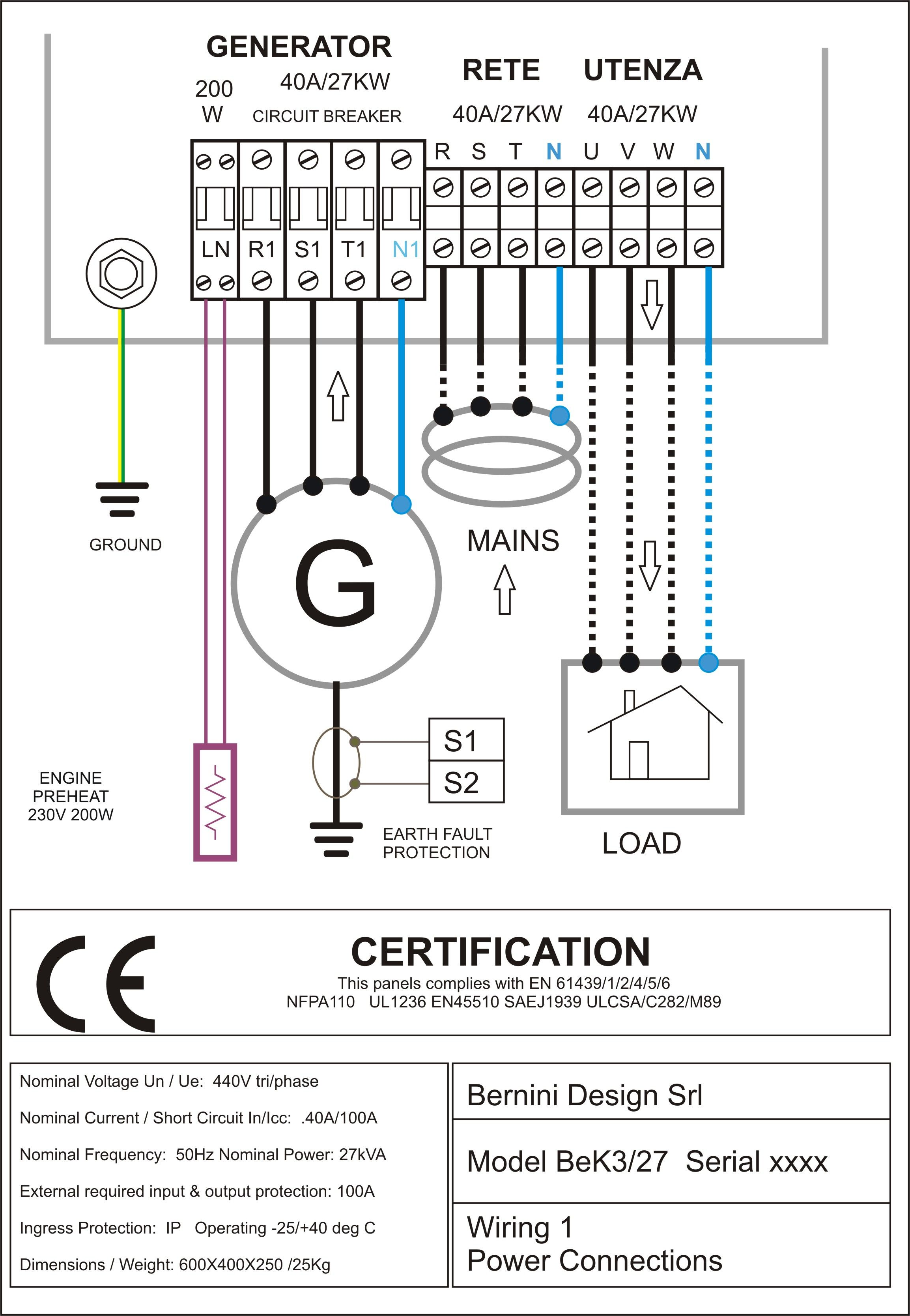 diesel generator control panel wiring diagram AC