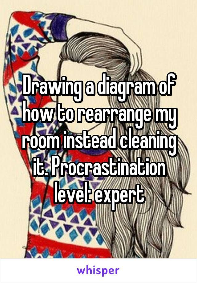 Drawing a diagram of how to rearrange my room instead cleaning it. Procrastination level: expert