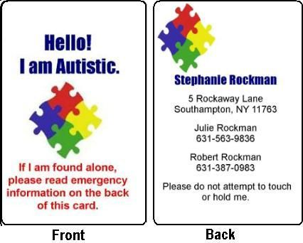 Emergency Management Id Badges Logo  Autism Id Card With