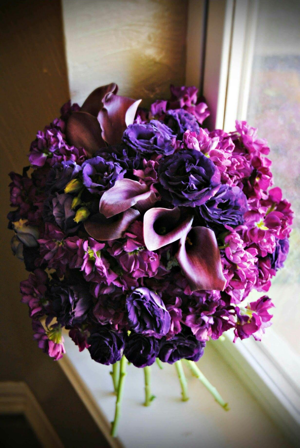 Purple Lisianthus Sangria Calla Lilies Fuchsia Stock Wedding Bouquet
