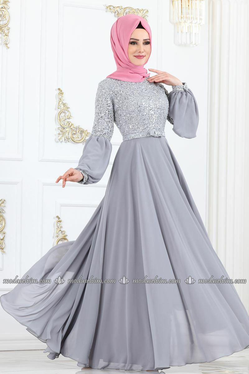 Moda Selvim Kemerli Balon Kol Abiye Ech7308 Gumus Elbise Moda Kiyafet
