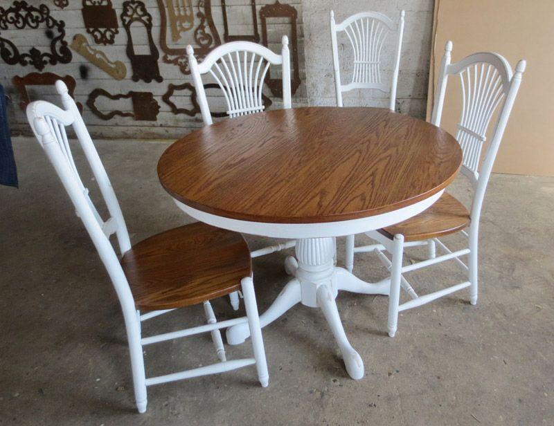 Pedestal Table 42 Round Oak Top Golden Stain White