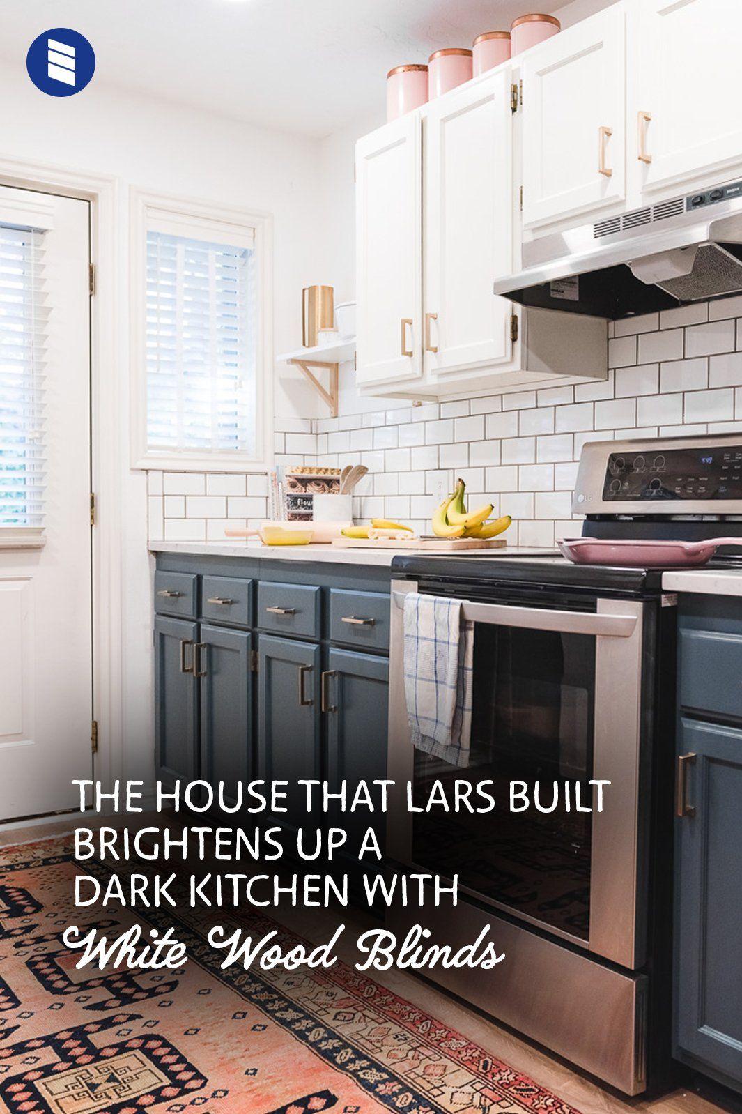How To Brighten Up A Dark Wood Kitchen The House That Lars Built Brightens Up A Dark Kitchen With White Wood Blinds Blinds Com Wood Blinds White Wood Blinds Dark Kitchen