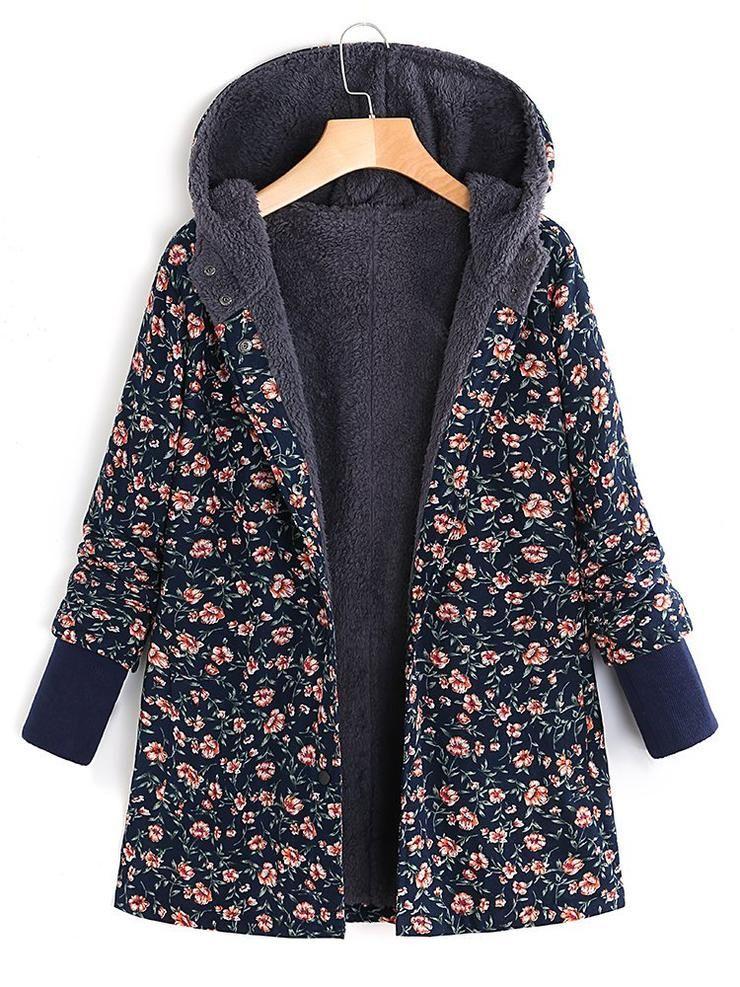 Floral Printed Hooded Long Sleeve Fleece Coat Kadin Paltolari Moda Stilleri Spor Giyim