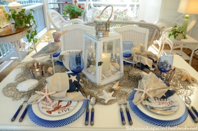 Nautical Table Setting With David Carter Brown Driftwood Dishware & Nautical Table Setting With David Carter Brown Driftwood Dishware ...