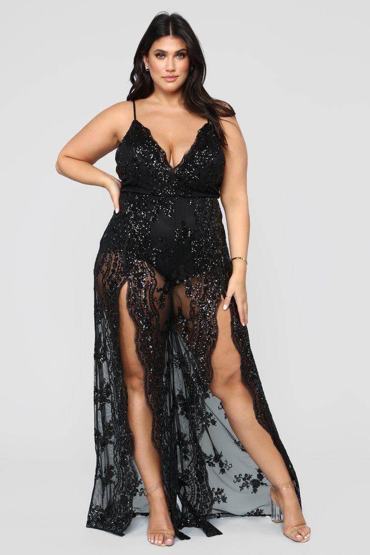 Hidden Hills Sequin Lace Jumpsuit Black Plus Model Latecia