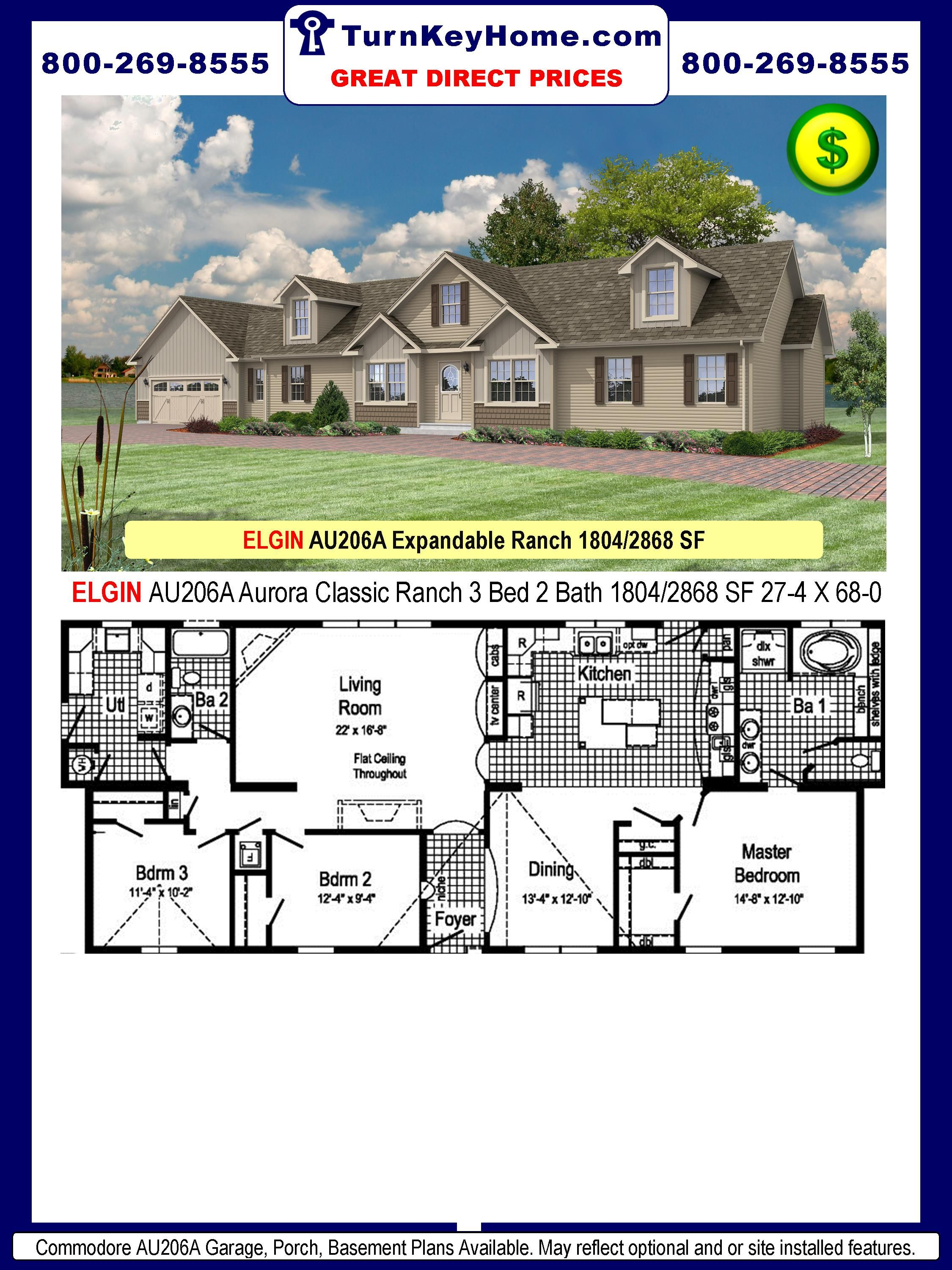 Elgin Au206a 3 Bed 2 Bath Ranch Plan 1804 Sf Commodore Homes Aurora Classic Series Direct Pr Modular Home Prices Manufactured Home Prices House Prices