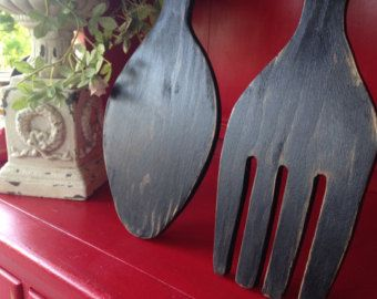 large wood fork and spoon black distressed large wall decor yard