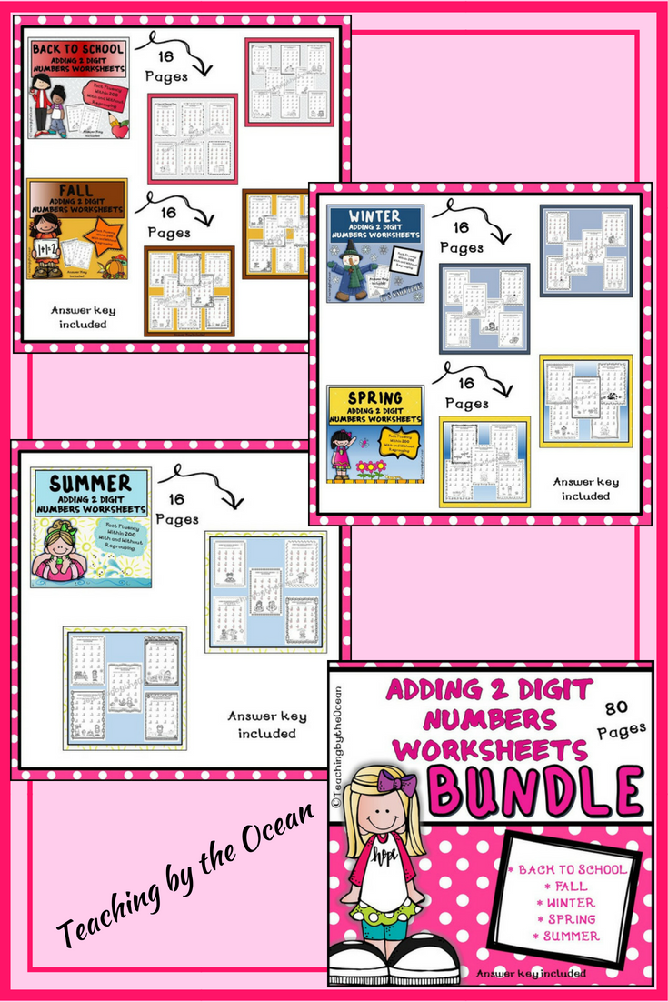 Adding 2 Digit Numbers Worksheets - All Year BUNDLE
