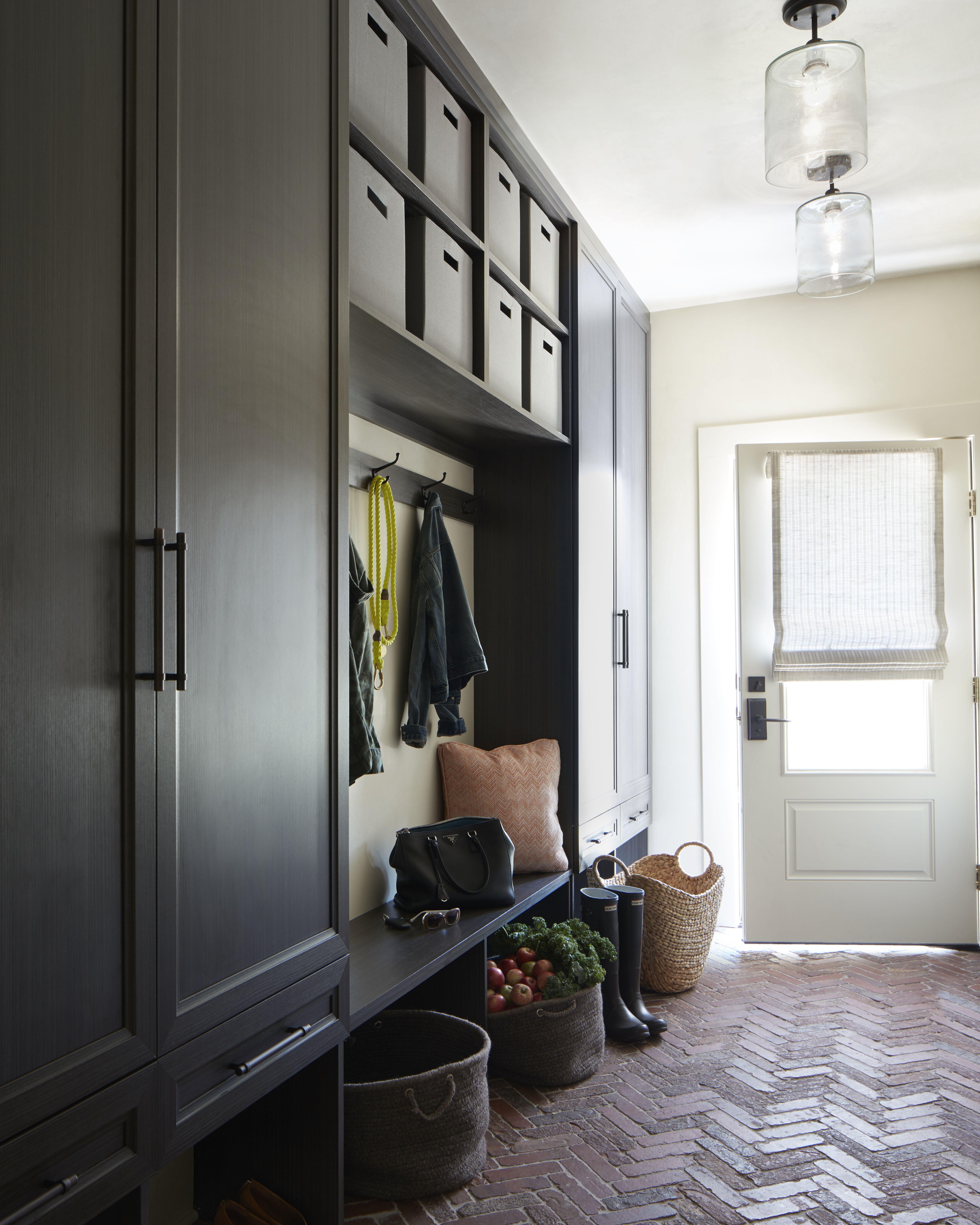 Black Cubbies In The Mudroom Herringbone Brick Paver Flooring Mudroom Floor Ideas Baskets Mudroom Flooring Beautiful Houses Interior Reading Room Design
