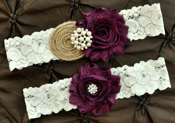 Burlap Rustic Wedding Garter Set by somethingnewdesigns