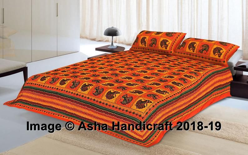 Cotton Double Bedsheet with 2 Pillow Covers Indian Mandala Ethnic Hippie retro