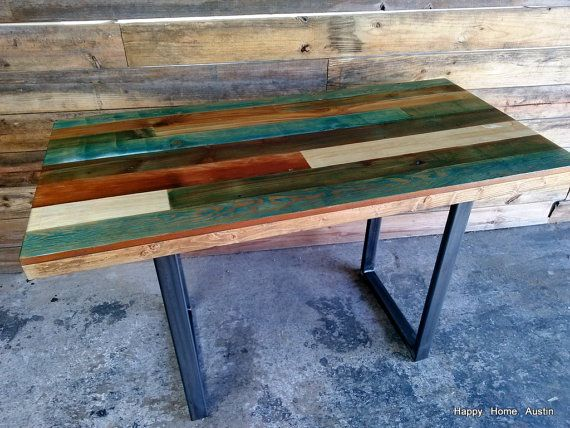 Awesome Colorful Reclaimed Salvaged Wood Dining Table by HappyHomeAustin Inspirational - Awesome refurbished wood table Idea