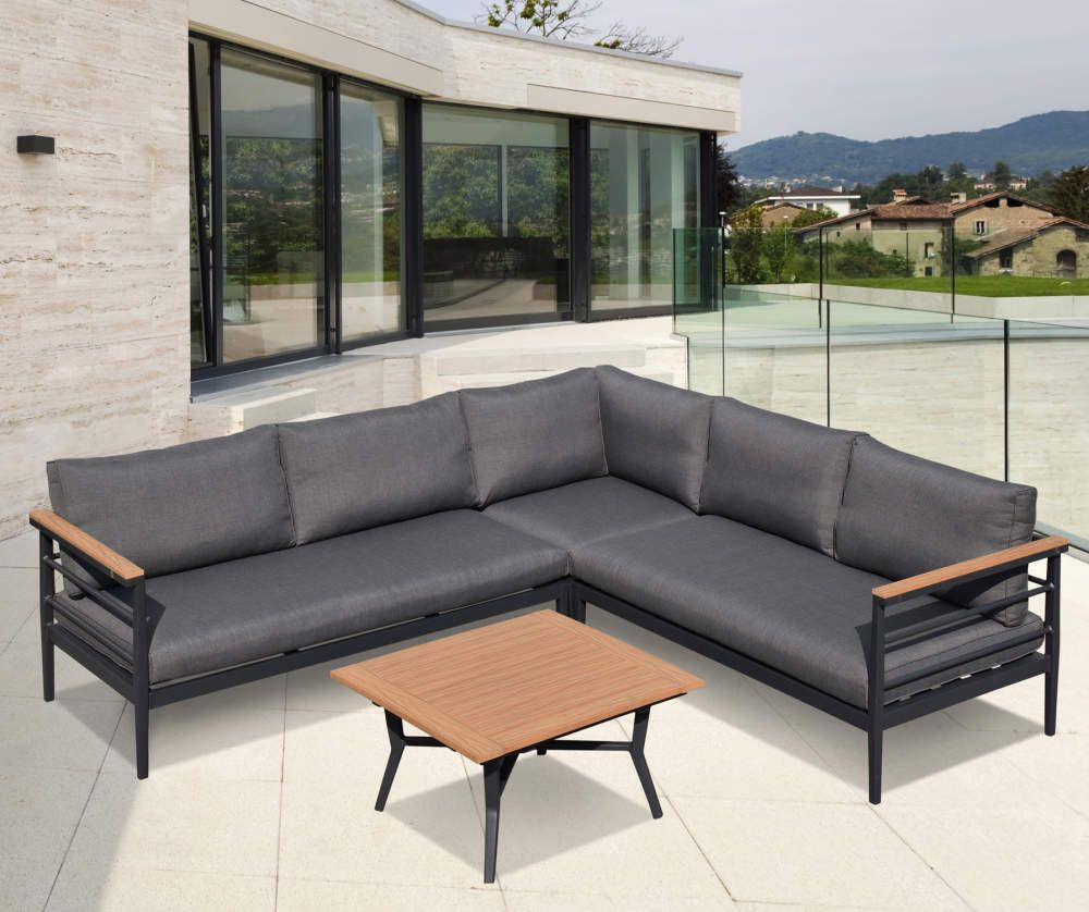 Glitzhome Aluminum Polywood 4 Piece Cushioned Patio Sectional Coffee Table Set Big Lots Patio Sectional Sectional Coffee Table Patio Seating [ 838 x 1000 Pixel ]