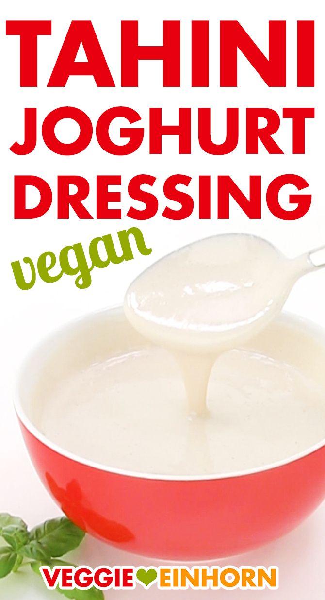 Veganes Tahini Joghurt Dressing ᐅ Einfaches Dip Rezept mit Zitrone und Knoblauch ᐅ