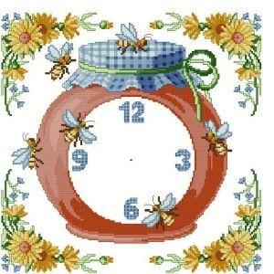 honey bees - clock stitch