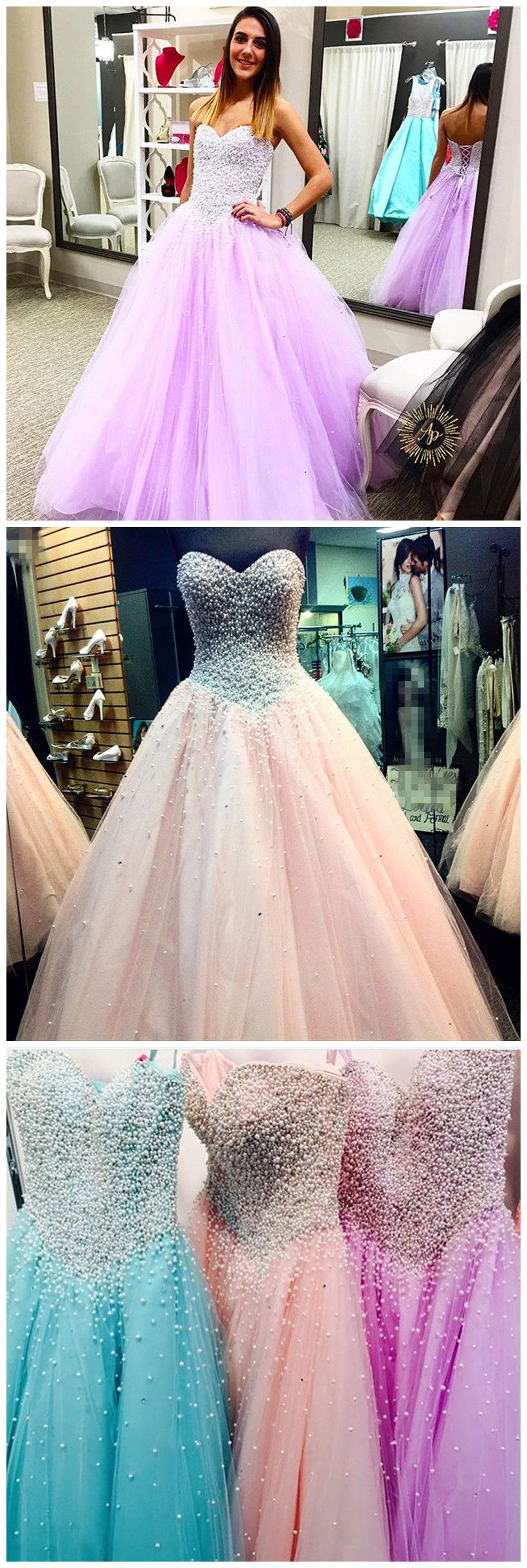 New arrival prom dressmodest prom dresselegant pearl beaded
