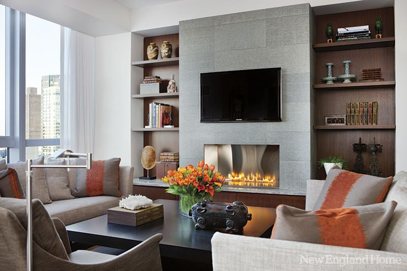 linear fireplace with tile surround and tv above tv u0026 fireplace wall stacy mclennan design ideas pictures remodel