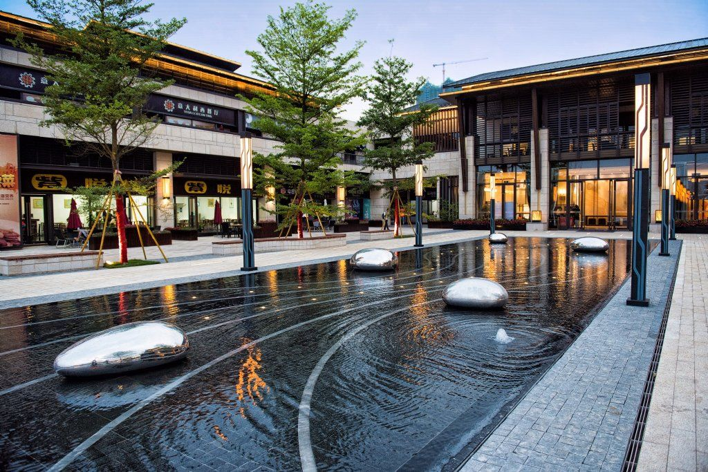 示范区镜面水池 Modern Water Feature Landscape Plaza Landscape Features
