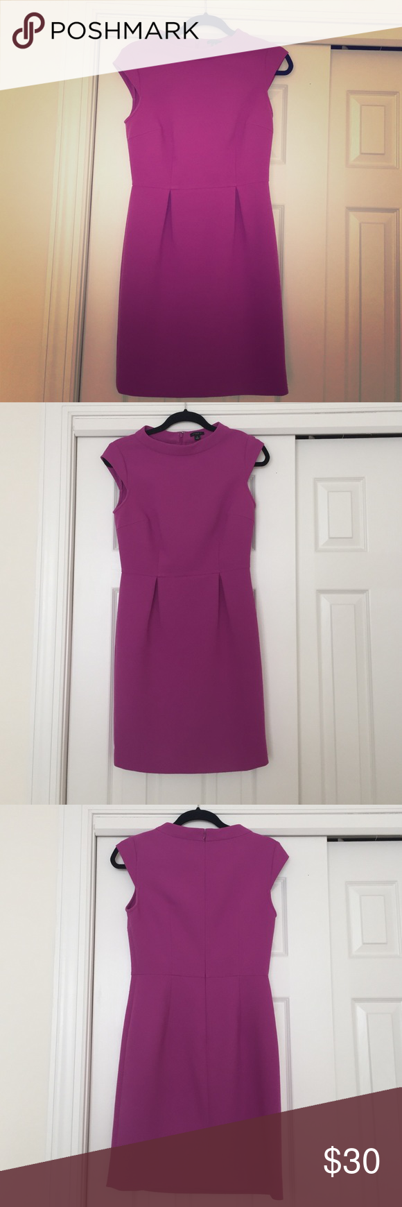 Purple dress Ann Taylor professional dress. In good condition, has been worn generously. Last picture shows quality and condition of material. Wear all year long to work or cocktail parties! Ann Taylor Dresses
