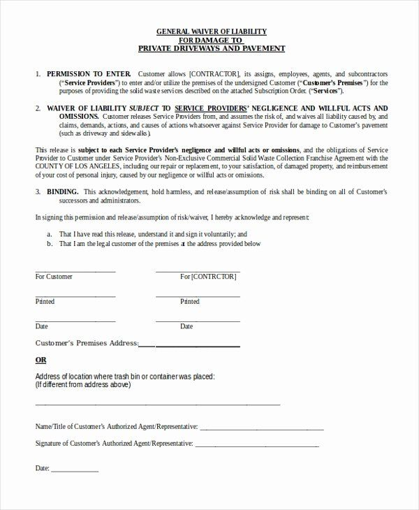 23 General Liability Waiver Form Template In 2020 Printable