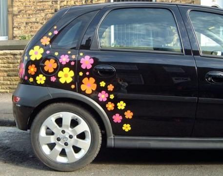 Bigger wizz flower car stickers hippy motors car stickers vinyl decals transfers