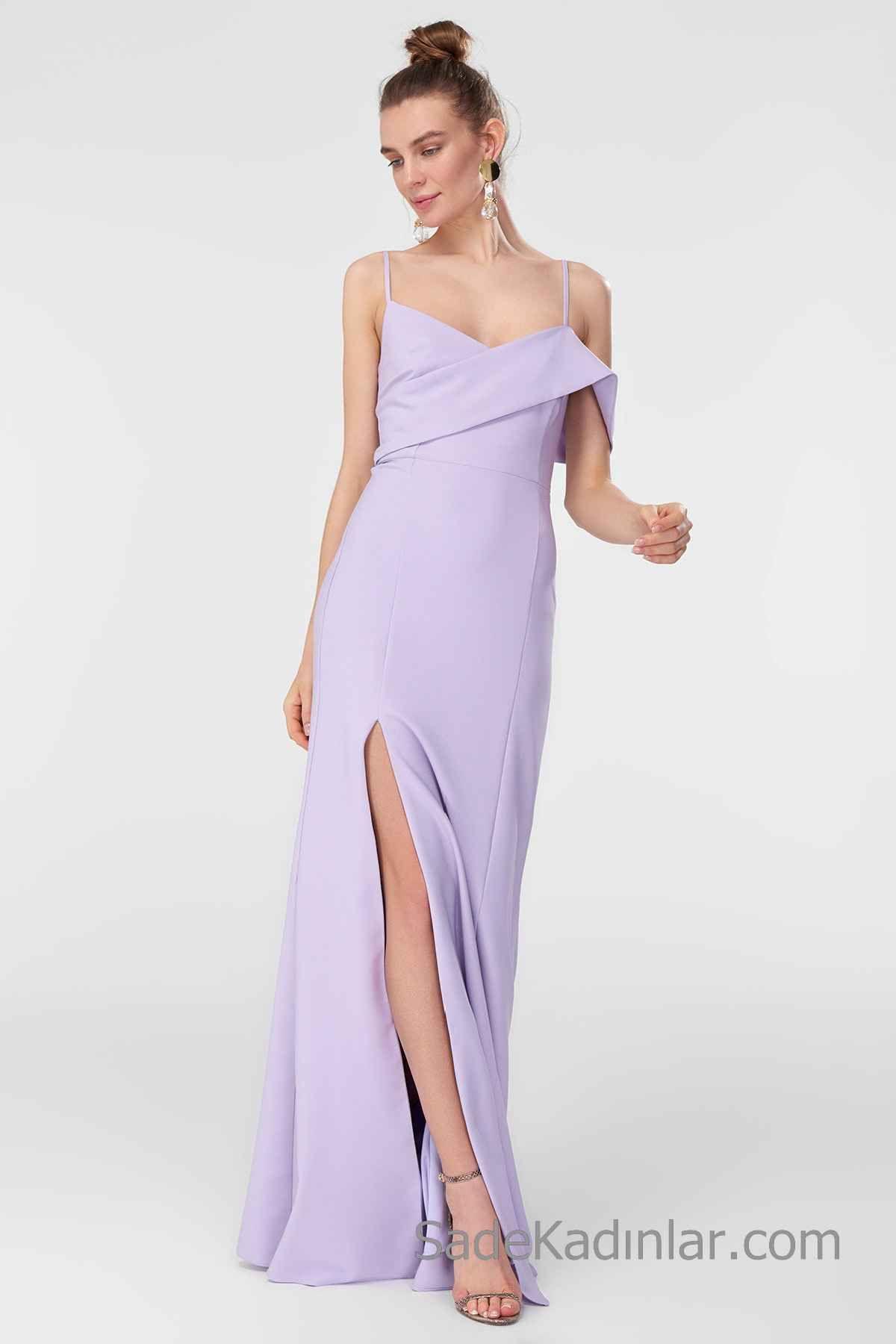 2020 Uzun Abiye Modelleri Lila Uzun Ip Askili Onden Yirtmacli The Dress Moda Stilleri Aksamustu Giysileri