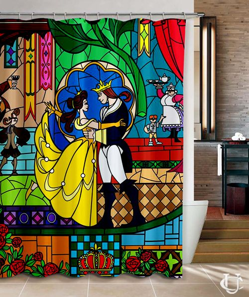 Cheap Beauty And The Beast Disney Movie Shower Curtain Best Quality 100 Money Back Guarantee