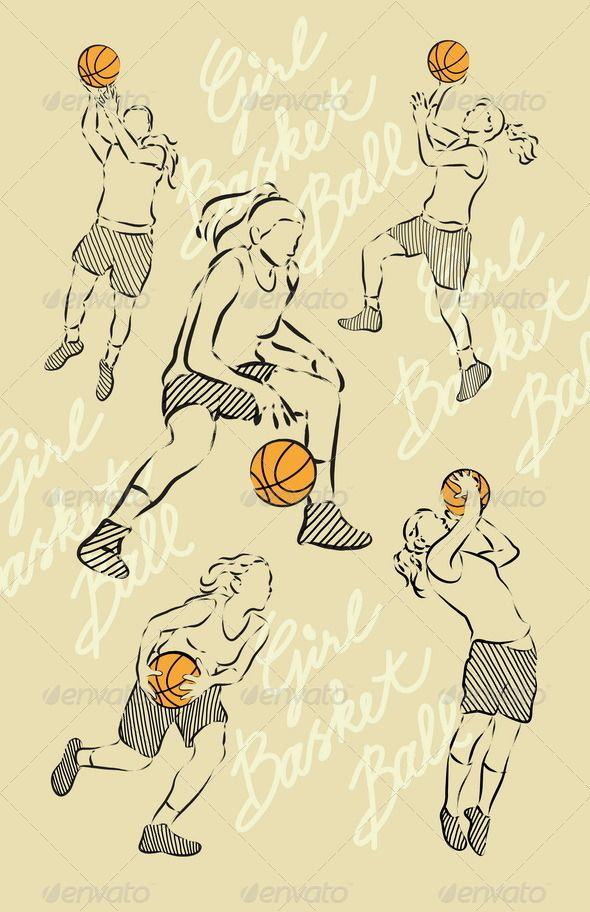 Girl Basket Ball Sketches Basketball Drawings Sketches Ball Drawing