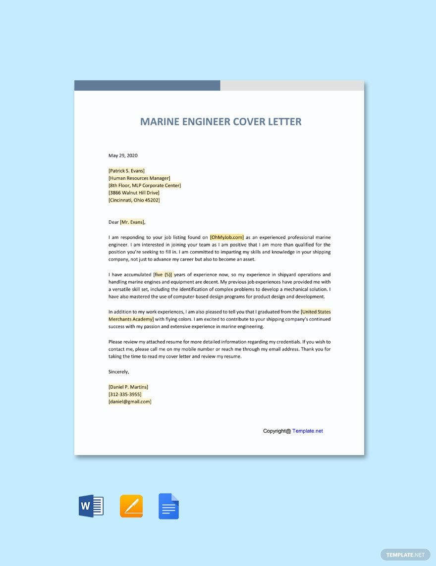 Free Marine Engineering Cover Letter Template Word Doc Google Docs In 2021 Letter Template Word Cover Letter Template Letter Templates