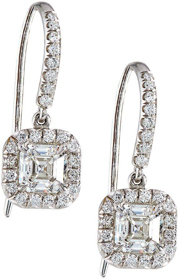 Diana M. Jewels 18k Asscher-Cut Diamond Drop Earrings, 1.07tcw