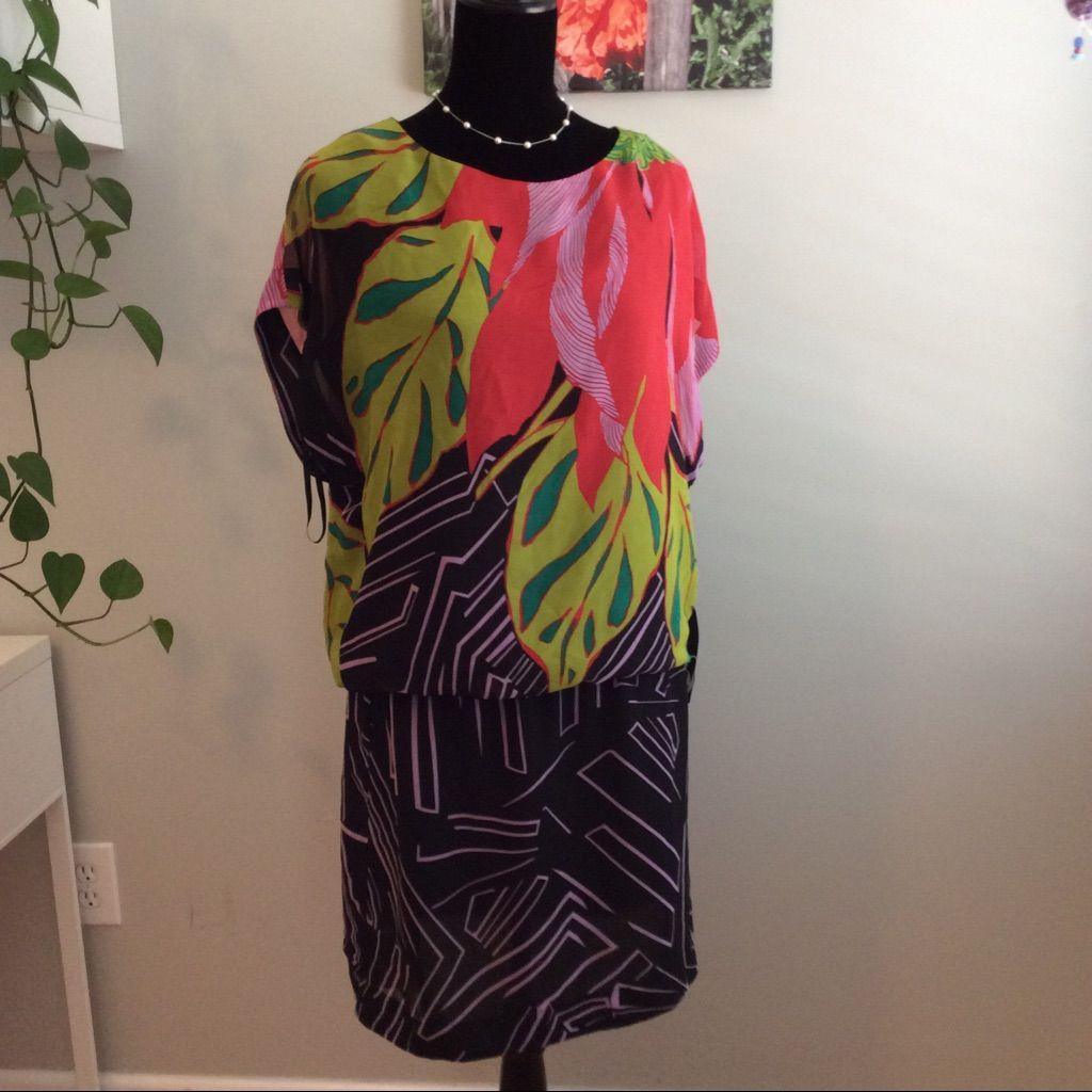 Nine west cherry multi tropical design dress tropical design