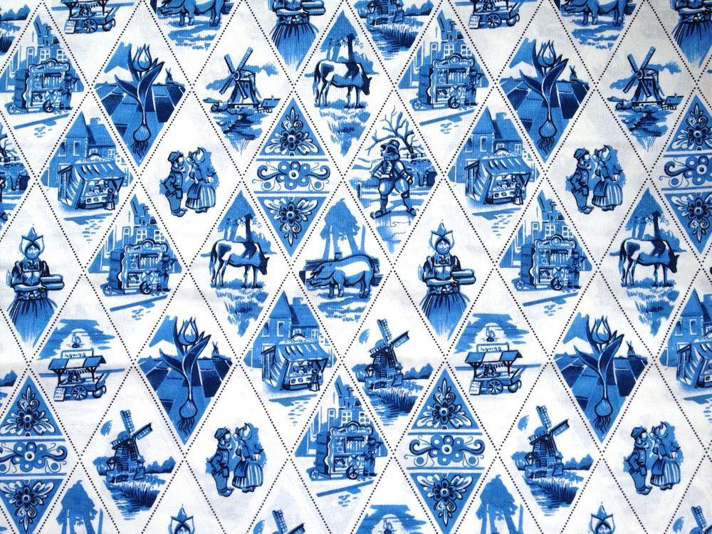 Delft Blue cotton fabric - Dutch print - Fat eight | Delft, Dutch ...