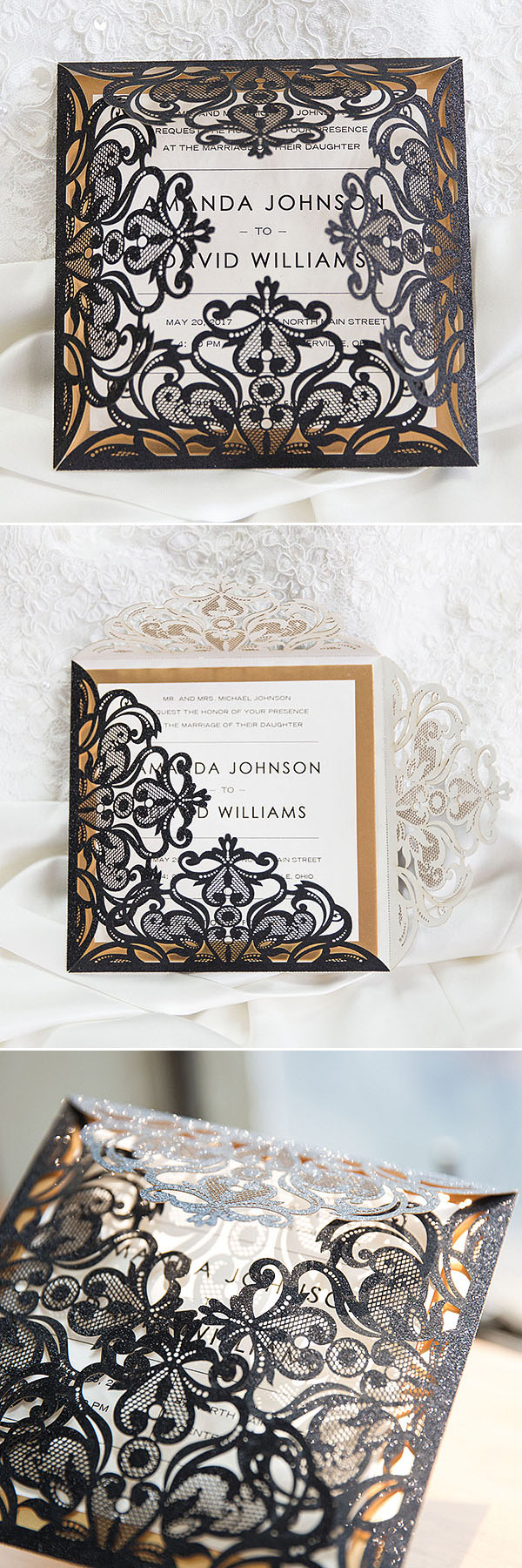luxury black glittery laser cut wedding invitations with gold ...