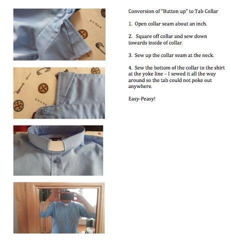 How To Convert A Regular Collar Shirt To A Tab Collar Clergy Shirt Clergy Women Shirt Pattern Collars Diy