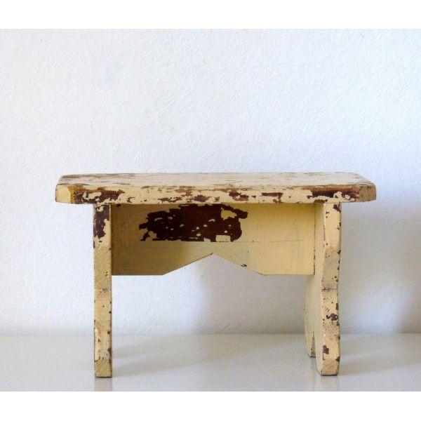Tabouret Banc Ancien En Bois Peint Vintage La Boutique De Petra