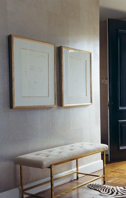 Gold framed Matisse over gold bench