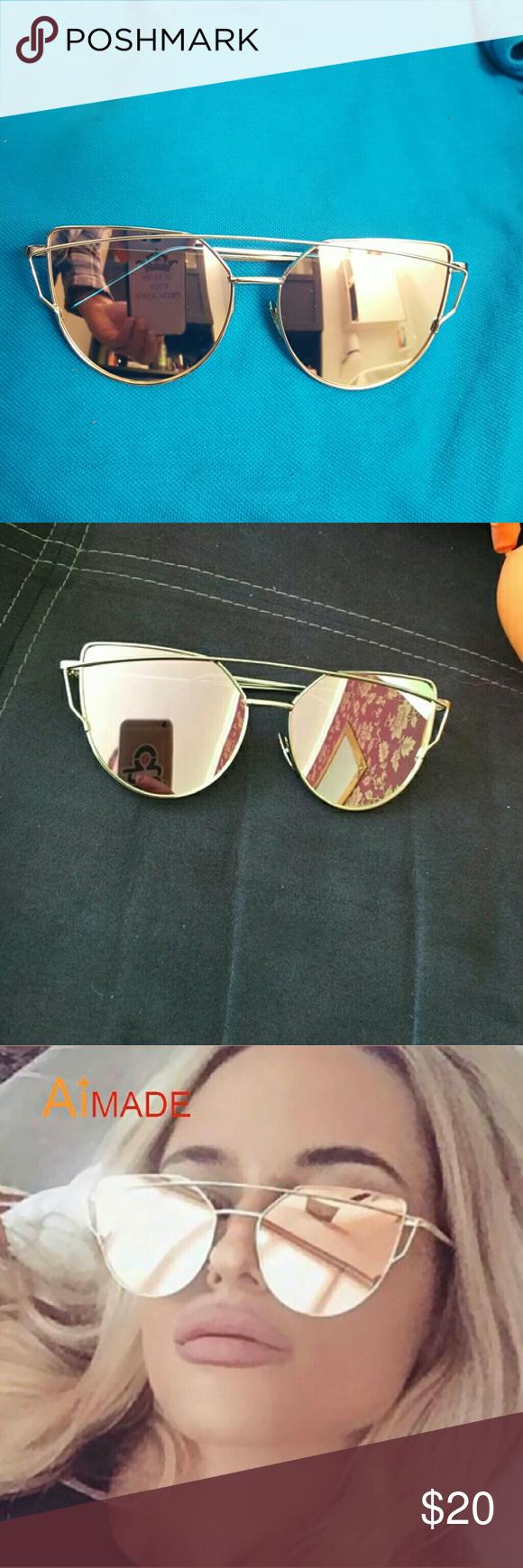 a9877e0723f7e6 New Cat Eye Sunglasses Women Fashion Twin-Beams R New Cat Eye Sunglasses  Women Fashion Twin-Beams Rose Gold Mirror Cateye Sun Glasses For Female  UV400.