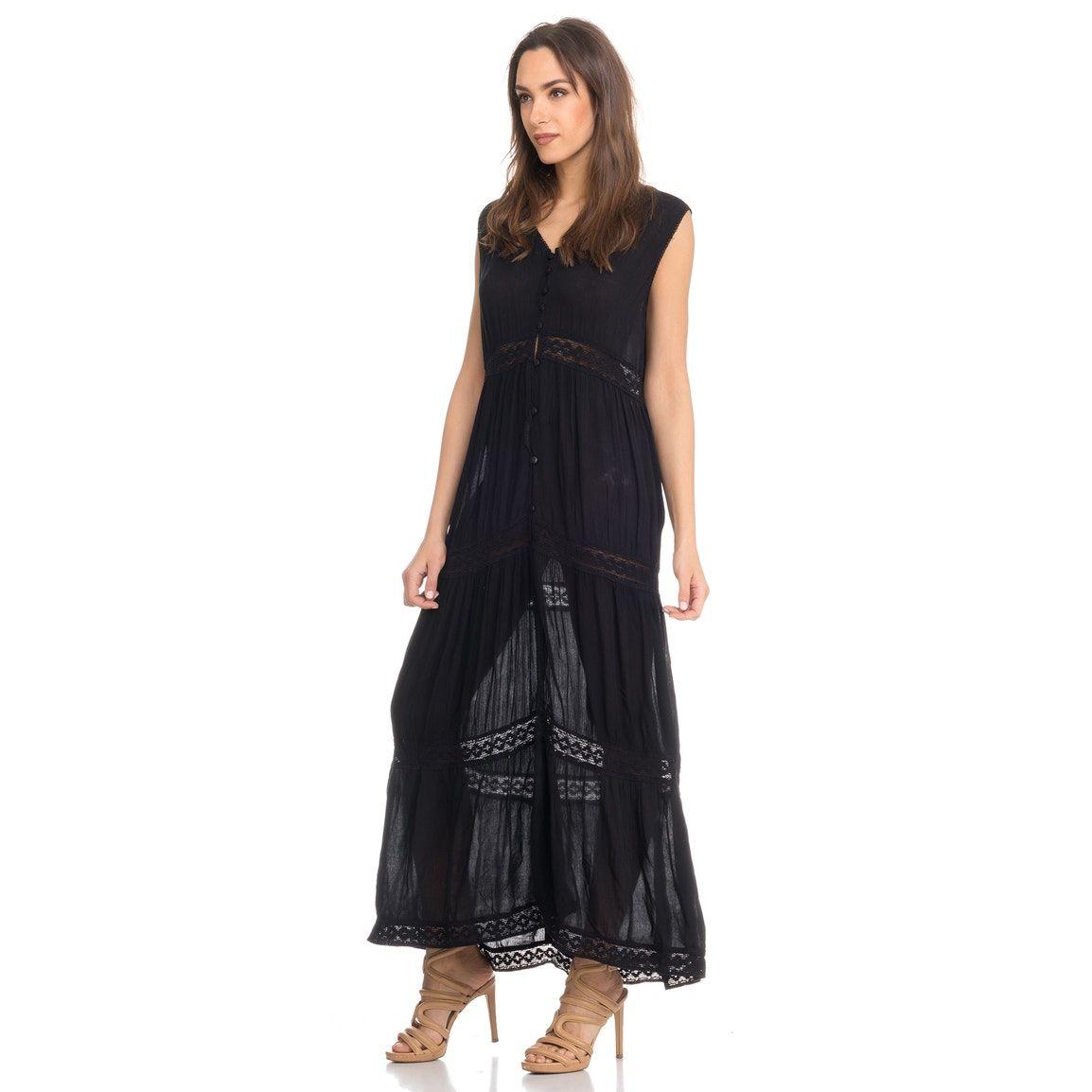 Vestito lungo nero da sera elegante - 75% di sconto 2719cbddc93