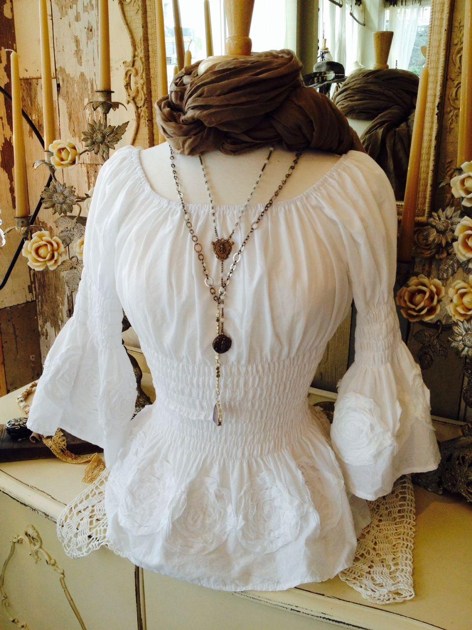 Cotton Peasant Blouse White Rldm