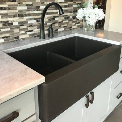 Karran Quartz 34 X 21 Double Basin Farmhouse Kitchen Sink Finish Brown Farmhouse Sink Kitchen Kitchen Renovation Farmhouse Style Kitchen